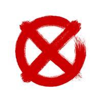 X marca em círculo, estilo de desenho de pincel, ilustração vetor