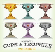 Troféus de vencedores e copos para interface do jogo
