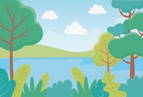 paisagem árvores arbustos folhas rio folhagem natureza verdura imagem vetor