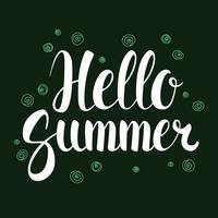 Olá Verão, design de bandeira de temporada de caligrafia, ilustração