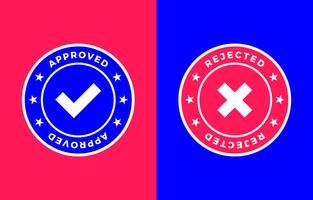 Marca aprovada e rejeitada, Etiqueta positiva e negativa vetor