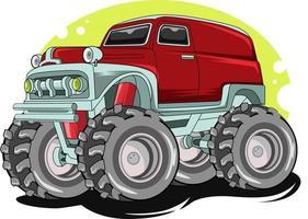 o desenho da mão do grande caminhão monstro vermelho fora de estrada vetor