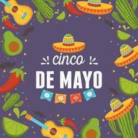 chapéu abacate guitarra cacto cinco de mayo celebração mexicana vetor