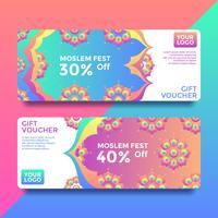 Vetor De Modelos De Voucher Cartão Presente Muçulmano Fest
