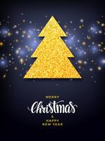 Árvore de Natal com fundo de preenchimento de glitter, design de férias vetor