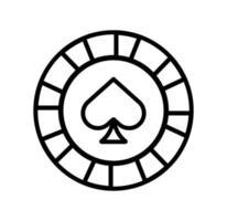 ficha de cassino com ícone de pá isolada vetor