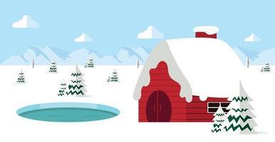 paisagem de inverno com fundo de casa vermelha vetor