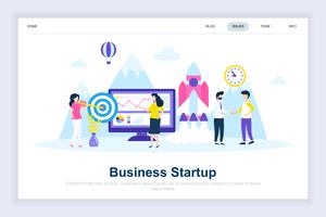 Conceito de design plano moderno de inicialização de negócios