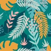 plantas tropicais brilhantes. ramos de palmeira, folhas de monstera. padrão sem emenda de vetor em estilo simples para tecido, papel de embrulho, cartões postais, papel de parede