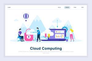 Conceito de design plano moderno de computação em nuvem vetor