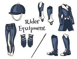 outfit rider um conjunto de roupas para um capacete de chicote de calças de pedjak botas de jóquei em estilo cartoon vetor