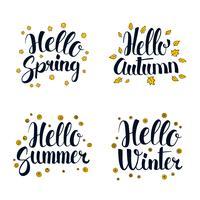 Olá primavera, verão, outono e inverno. Design de banner de temporada de caligrafia