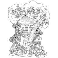 ursos de pelúcia e casa na árvore desenhados à mão para livro de colorir adulto vetor