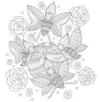 insetos fofos desenhados à mão para livro de colorir adulto vetor