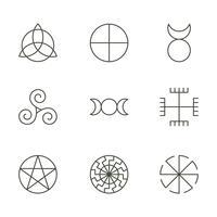 Símbolos antigos pagãos, ícones sagrados de mistério, ilustração vetor