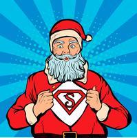 Super-herói de Papai Noel, ilustração em vetor retrô pop art.