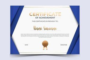 certificado de luxo de modelo de prêmio de agradecimento com distintivo dourado. vetor