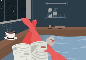 Desfrute de ler um livro na ilustração em vetor de quarto de banho aconchegante
