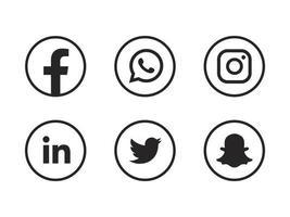 ícones de mídia social agrupam facebook instagram snapchat linkedin e outros botões de logotipo vetor