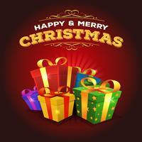 Fundo de Natal feliz com pilha de presentes vetor