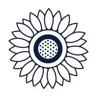 ícone isolado de bela decoração de girassol vetor