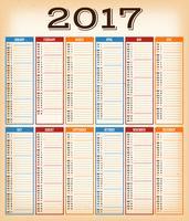Calendário De Design Vintage Para O Ano De 2017