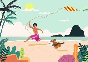 Atividades de praia Kids And Dog vetor