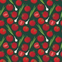fundo com uma foto de produtos vegetarianos. padrão sem emenda de vetor com tomates maduros e cebolinha.