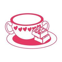 sobremesa de brownie doce com copo de bebida vetor