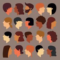 Conjunto de rostos que são de diferentes comunidades vetor