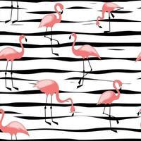 padrão sem emenda de flamingo em design de fundo listrado para tecido e decoração vetor