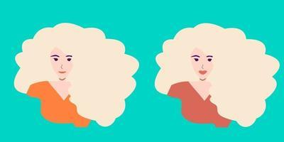 mulher com lábios finos e carnudos. aumento dos lábios. antes e depois do conceito. ilustração vetorial. vetor