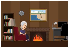 Mulher velha em um quarto acolhedor vetor