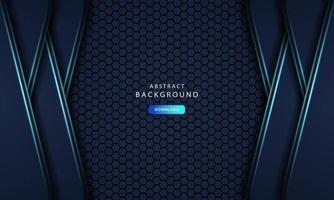 fundo de metal abstrato hexagonal com efeito azul claro vetor