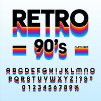 Alfabeto retro das listras dos anos 90 vetor