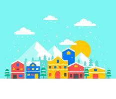 Vetor de aldeia de inverno nevando