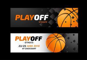 Modelos de banners de site de basquete vetor