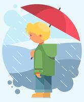 Guarda-chuva de exploração de menino vetor