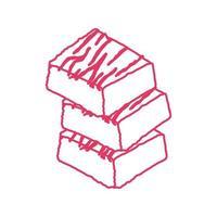 ícone isolado de sobremesa de brownie doce vetor