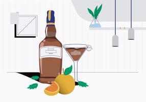 Bourbon Wishky Bottle On Table Ilustração vetorial vetor