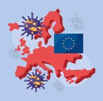 covid 19 partículas e mapa da europa e bandeira da ue vetor