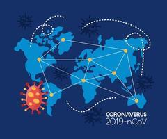 mundo planeta terra com covid 19 partícula vetor