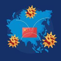 mundo planeta Terra com covid 19 partículas e bandeira da China vetor