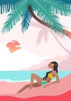 Mulher fazendo atividades de praia vetor