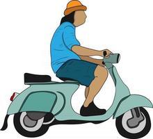 scooter motoqueiro personagem plano perfeito para projeto de design vetor