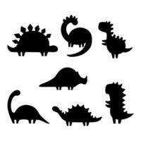 conjunto de silhuetas de dinossauros. ilustração vetorial isolada no fundo branco vetor