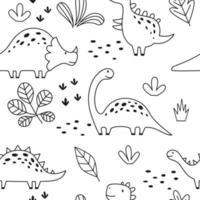 padrão sem emenda com dinossauro bonito em estilo esboçado de contorno. Dino engraçado dos desenhos animados. Doodle de vetor desenhado à mão para crianças