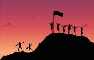 grupo de homens e mulheres felizes com negócios em uma montanha com o fundo do sol vetor