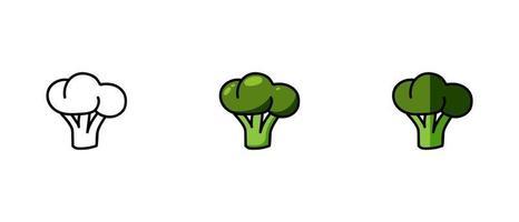 contorno e símbolos coloridos de brócolis vetor