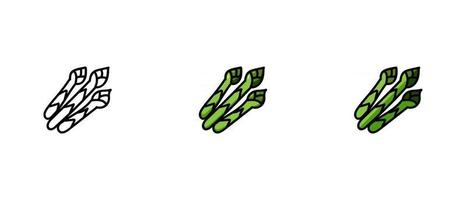 contorno e símbolos de cores dos espargos vetor